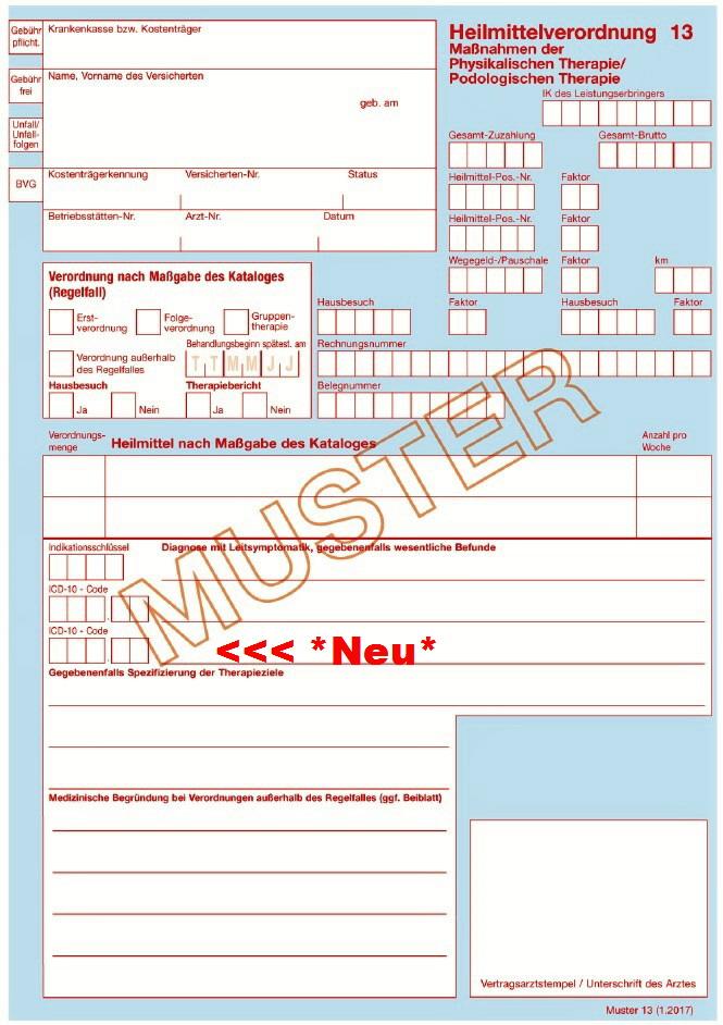 ab 01012017 gelten neue verordnungsmuster fr die podologische heilmittelverordnung - Behandlungsvertrag Muster